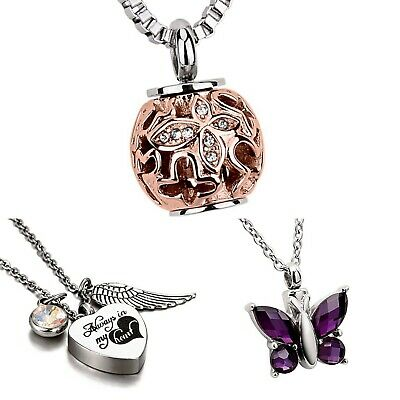 Cremation Jewellery Necklace Ashes Funeral Urn Pendant Angel Heart Keepsake NEW!