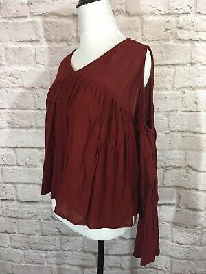 01f5b68190bd8 ASOS Cold Shoulder Shirt SZ UK 10 EU 38 US 6 Red Bell Sleeve Cut Out