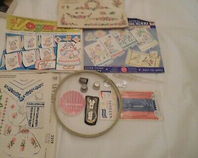 Vtg Embroidery Patterns~Thimbles~1 Hoop~Needles~Folding Scissors~ Sewing Notions