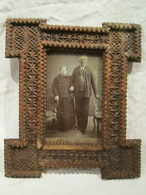 Antique Hungarian Carved Wood Treen Picture Frame with old photo Tramp Art 19.C