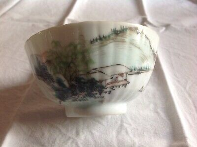 vintage Chinese old porcelain bowl bol ancien calligraphies et signatures