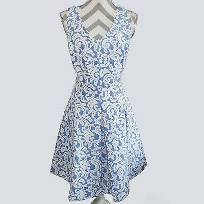 e087e2159c9 Just Taylor Womens Dress 14 V Neck Cross Back Textured Blue White Fit Flare  kfp1