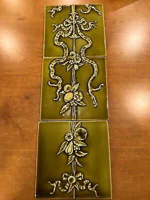 "3 Antique Providential Tile Works Trenton NJ 6"" green Ribbon Floral fruit tiles"