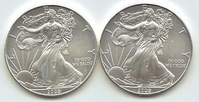 2-2009  Uncirculated American Silver Eagle  1-Troy oz. .999 Silver.