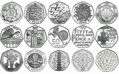 1982 - 2016 Fifty Pence 50P British Brilliant Uncirculated Coins Choice of Year
