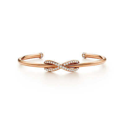 be1c3227b Gorgeous 18k 750 Tiffany & Co. Rose Gold Diamond Infinity Cuff Bangle  Bracelet