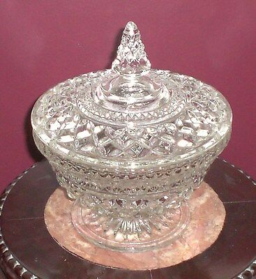 Vintage Anchor Hocking Clear Glass Wexford Pattern Large Covered Candy Dish