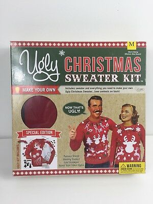 Ugly Christmas Sweater Mens Medium Womens Small Holidays Party Kit Unisex Red