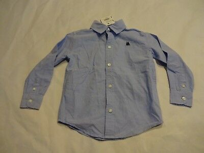 NEW Janie & Jack Boys long sleeve button up shirt, 3T, Blue Sailboat