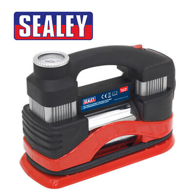 Sealey MAC03 Tyre Inflator/Mini Air Compressor with Work Light Twin Cylinder 12V
