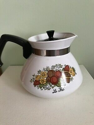 Vintage Corning Ware P-104 Spice of Life 6 Cup Coffee Tea Pot with Lid EUCf