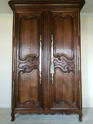 French Antique Louis XV Carved Oak Armoire