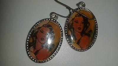 Cool Retro Cartoon Woman Silver Plated AAi hook earrings 1.5in. w/hook