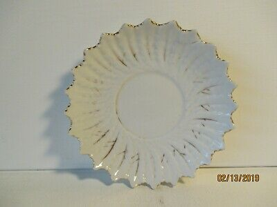 "Vintage Round White & Gold Ceramic Dish - 5"" Round - New - Free Shipping"