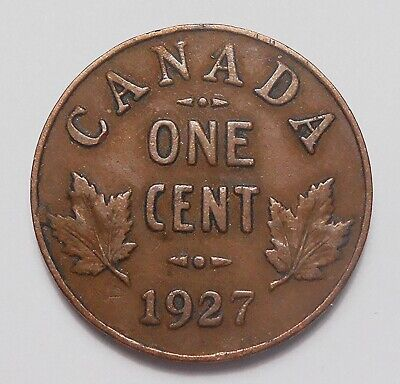 1927 Small Cent VF+ ** Nice SCARCE Date 7th LOWEST Mintage George V Canada Penny
