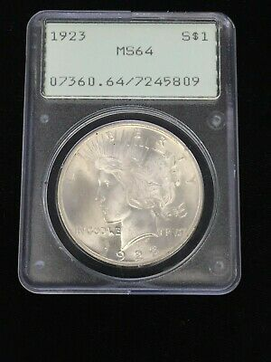 1923 PEACE SILVER DOLLAR $1 *PCGS MS64 CHOICE BU* Old Green Rattler Holder