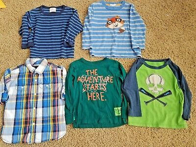 Little Boys 2T 5 Piece Lot Of Boutique Embroidered Long Sleeve Shirts! Euc!