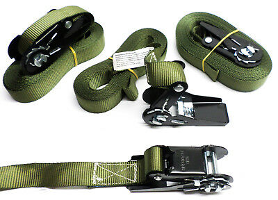 4x Tension Belt with Ratchet 6 Meter Lashing Strap Olive Green B-Ware Cheap (