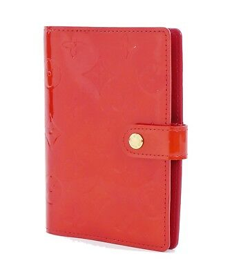 Authentic LOUIS VUITTON Red Vernis 6 Ring Agenda Address Book Cover #29899