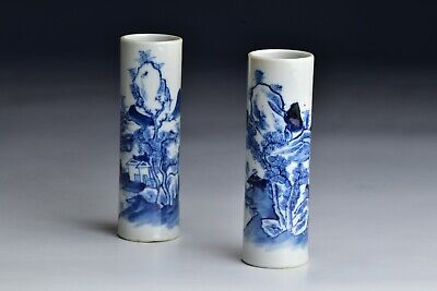 Pair of 18th / 19th Century Chinese Porcelain Cylindrical Incense Stick Vases