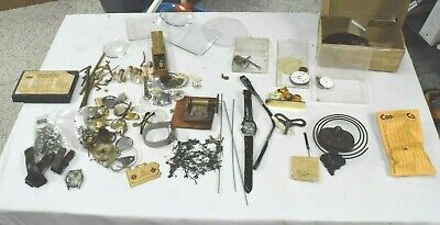 Large Lot Vintage Clock & Watch Repair Parts Horologists Steampunk