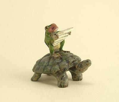 Vienna Bronze FROG RIDING ON A TURTLE cold painted Brass Bermann Austria