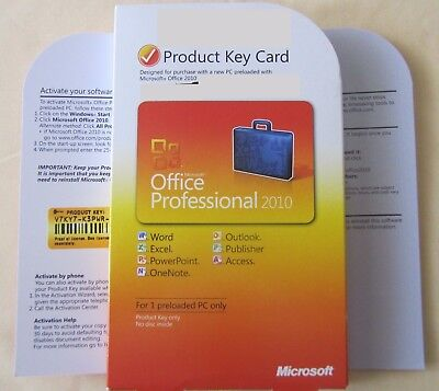 Microsoft Office 2010 Professional - Word Excel Powerpoint Outlook Access - PKC