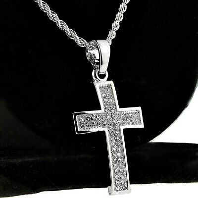 Mens Curved Cross Rope Chain Silver Tone Micro Pave Pendant Hip Hop Necklace 24""