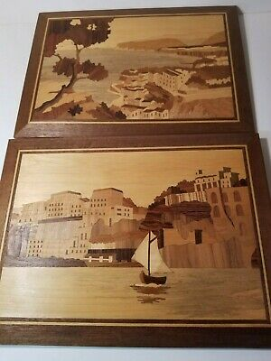 "Vintage Handmade ITALIAN INLAID WOOD PLAQUE,  Picture lot of 2 ,14 1/2"" ,10 1/2"""