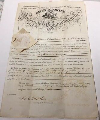Authentic Pennsylvania 1840 Commonwealth Seal & 9.Th  PA Governor Signature LOOK