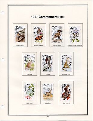 US Used Scott #2286-2335 22c North American Wildlife (Set of 50) on pages