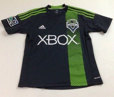 7f57e73c128 Adidas Seattle Sounders FC Xbox MLS Boy s Gray Soccer Jersey Shirt Size  Small
