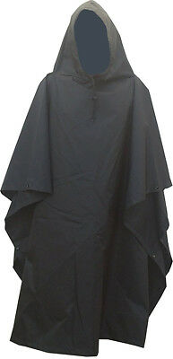 Military Style Nylon Poncho Black Color Made in USA Brand New Oxford Nylon