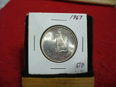 1967  Canada  Silver  Half  Dollar  50 Cent Piece   67B    Good Grade