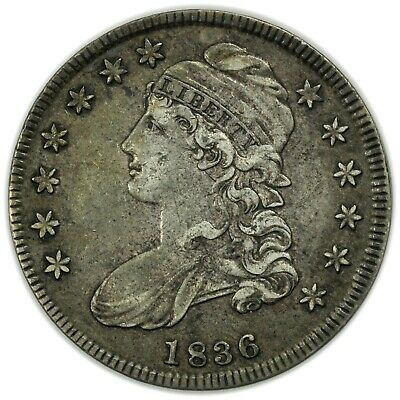 1836 Capped Bust Half Dollar, Nice, Rare, Early Type Silver Coin [4159.23]
