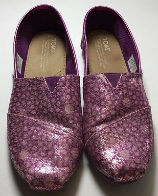 792096c38e0d Toms Girls Slip On Shoes Glittery Sparkly Flats Size Youth 5 Pink Sparkles  Shoe