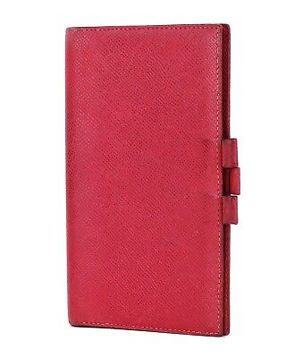 Authentic HERMES Red Leather Agenda Note Address Book Cover #25311