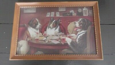 Cassius Coolidge 3 Dogs Playing Poker Vintage Framed Print