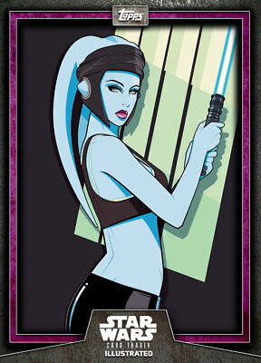 Topps Star Wars Card Trader Illustrated 6-2 #4 PURPLE Aayla Secura CTI 125cc