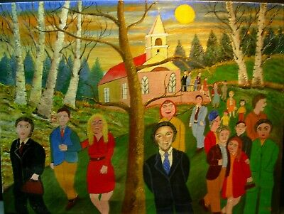 Bill Male Quebec Folk Art Painting of a Pierre Trudeau Political Rally in 1960's