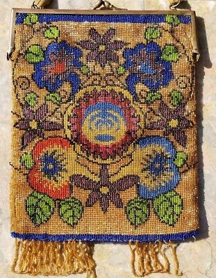 Gorgeous Antique Germany Glass Micro Beaded Beads Purse Tassels Purse Bag