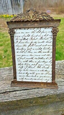 """Antique Brass Bronze 19c French Ornate Laurel Wreath Picture Frame-8"""" Tall"""