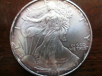1998 $1 American Silver Eagle, Ch Unc, Some Toning