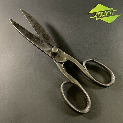 """Huge Antique Blacksmith Made 13"""" Iron Scissors Hand Forged Rustic Shears Tools"""