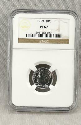 1959 Roosevelt Proof Silver Dime Graded by NGC PF67! No Reserve!