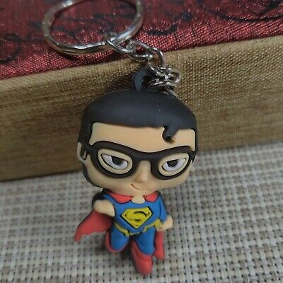 New 3D superman Double Sides Soft Rubber Keyring Keychain bags Pendant
