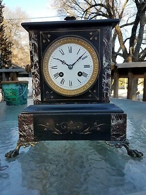 French Mantle Clock, Marble Slate, L. Marti runs great