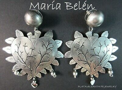 "Maria Belen~""BEATING HEART"" Milagro~Oxidized 925 Mexican Earrings"