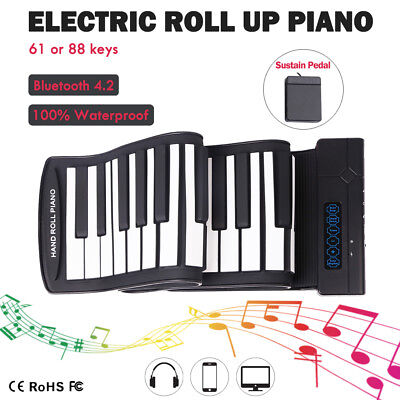 Wireless Portable Electric Hand Roll Up Piano 88 Keys Flexible Silicone Keyboard