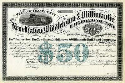 1870 New Haven Middletown & Willimantic RR Bond Certificate